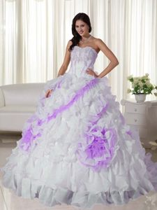 Ruffled and Appliqued Quinces Dresses in White and Lavender 2013