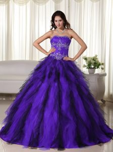 Purple and Black Quinceanera Dresses with Appliques and Ruffles The Academy Awards
