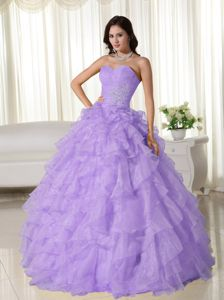 Appliqued Lavender Organza Quinceanera Dresses with Ruffled Layers