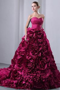 Fuchsia Brush Train Quinceanera Dresses with Ruches Rolling Flowers