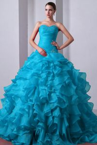The Best Blue Quinceanera Dress with Beading and Ruffles