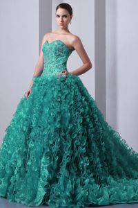 Fast Shipping Brush Train Turquoise Appliqued Sweet 16 Dresses