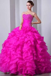 Winter 2014 Paris Fashion Week Fabulous Ruffled Hot Pink Dress for Quince with Rhinestones