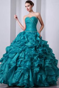 Brand New Stylish Beaded Ruffled Teal Dress for Sweet 16
