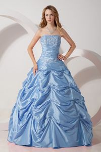 Light Blue Appliqued Dress for Sweet 15 with Pick Ups for Winter