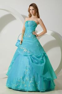 Perfect Organza Turquoise Sweet Sixteen Dress with Embroidery