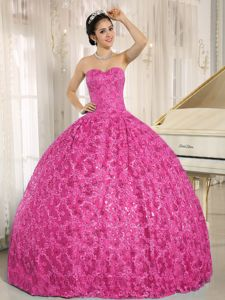 Shimmery Special Fabric Sweetheart Hot Pink Sweet 16 Dresses