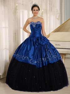 Royal Blue and Black Ball Gown Embroidery Quinceanera Dress