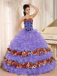 Keyshia Coles Multi-colored Leopard Print Quinceanera Party Dress Wit Ruffles