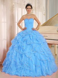 Classic Aqua Blue Quinceanera Dresses with Ruffles and Beading