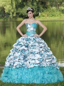 Sweetheart Beaded Multi-color Quinceanera Gown with Pick Ups