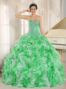 2013 New Medium Spring Green Ruffled Beaded Sweet 16 Dress