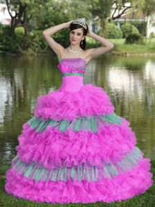 Special Ruffled Beaded Multi-color Tiered Dresses for Sweet 15