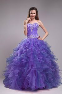 Brand New Sweetheart Appliqued Ruffled Purple Dresses of 15