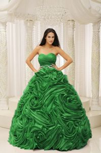 Green Sweetheart Beaded Sweet 16 Dress with Rolling Flowers