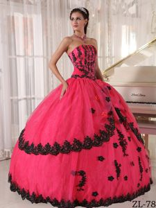 Cheap Deep Pink Ball Gown Sweet 15 Dress with Black Appliques