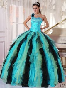 Multi-colored One Shoulder Beaded Dress for Quince with Ruffles