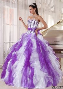 Good Quality 2014 Two-toned Ruffled Appliqued Sweet 16 Dress