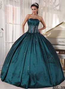 Teal Ruched Beaded Ball Gown Quinceanera Party Dress On Sale