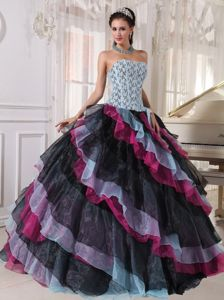 Special Corset Back Strapless Ruffle Multi-color Sweet 15 Dress