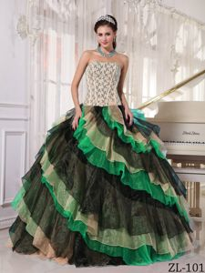 Ball Gown Multi-color Dresses for Sweet 15 with Ruffled Layers