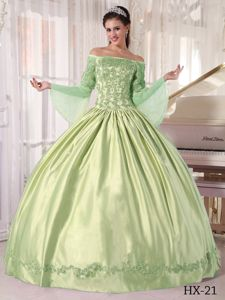 Off The Shoulder Long Sleeves Yellow Green Quinceanera Dress