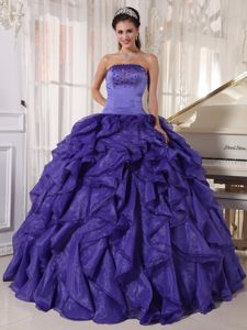Brand New Purple Quinceanera Gown with Beading and Ruffles