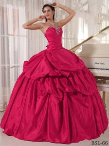 Recommended Taffeta Pick Ups Beaded Hot Pink Quince dress