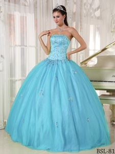 High Quality Appliqued Blue Ball Gown Sweet 15 Birthday Dress