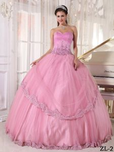 Pink Sweetheart Appliqued Quinceanera Dresses for Wholesale