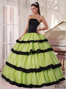 Green and Black Strapless Quinceanera Party Dress with Ruffles