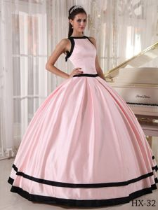 New Arrival Bateau Neck Pink and Black Sweet 15 Dress