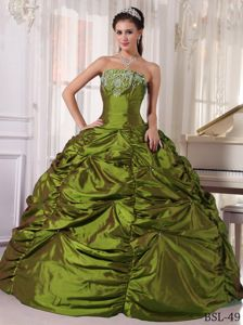 Brand New Dress for Sweet 15 in Olive Green with Embroidery