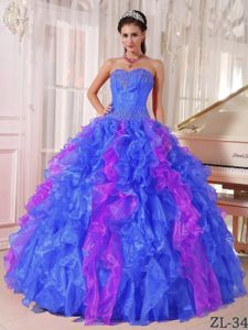 The Best Sequins Ruffled Quinceanera Dress in Blue and Purple