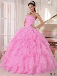2012 Hot Strapless Beaded Ruffled Baby Pink Dress for Quince