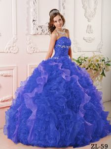 Sapphire Blue Beaded Quinceanera Dress with Rolling Flowers