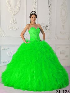 Unique Sweet Sixteen Dresses in Spring Green with Rhinestones American Idol dress