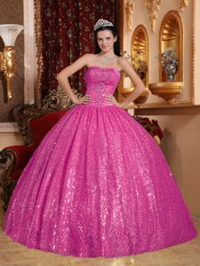 Hot Pink Sweetheart Quinceanera Dress by Sequined Fabric with Beads