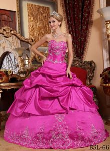 Hot Pink Taffeta Sweetheart Quince Dress with Embroidery and Beading