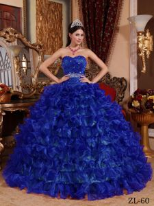 Royal Blue Sweetheart Quinceanera Dress with Ruches and Ruffled Skirt
