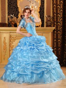 Baby Blue Sweetheart Quince Dress with Appliques and Ruffles