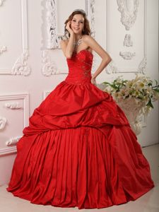 Red Quinceanera Dress with Sweetheart Neckline and Beading by Taffeta