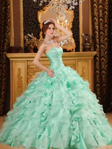 Apple Green Sweetheart Quinceanera Gown with Ruches and Ruffled Skirt