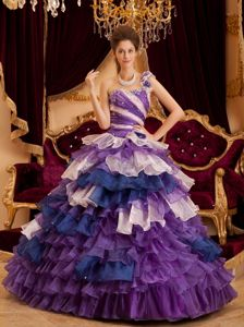 Multi-color One Shoulder Quinceanera Gown Dress with Ruffles