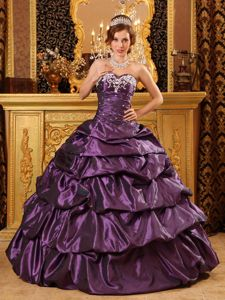 Eggplant Eggplant Purple Beaded Quinceanera Gowns by Taffeta Pick-ups