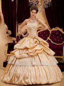 Champagne Taffeta Quinceanera Dress with Appliques and Pick-ups