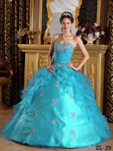 Aqua Blue Quinceanera Dress with Sweetheart and Ruffled Overlay