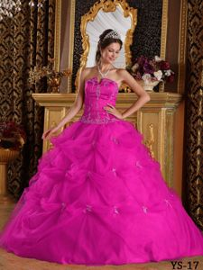 Fuchsia Quinceanera Dress by Tulle with Pick-ups and Applique on Sale