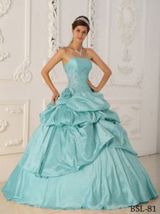 Taffeta Sweet Sixteen Dresses with Beading and Pick-ups