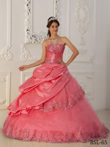 Watermelon A-Line Taffeta and Tulle Beading Quinceanera Dress